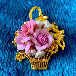 Gold color Flower Brooch Pin